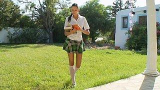 Schoolgirl giving head