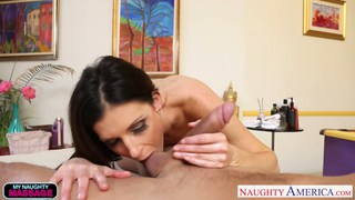 Slim hottie India Summer massaging a big cock
