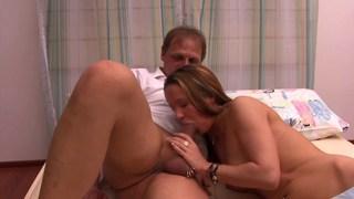 German girl blowing her hubby