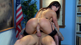 Naughty teacher Kendra Lust rides hard dick cowgirl style