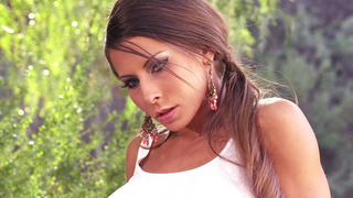 Madison Ivy washing car and getting wet outdoor