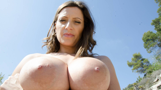 Horny milf with big natural tits fucking outdoors