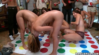 Tons of dudes are lined up and watching nude girlfriends Diamond Kitty, Jada Stevens and Jennifer Dark having fun nude.