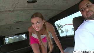 Young blonde Katherine invited to take a ride with us in the bus