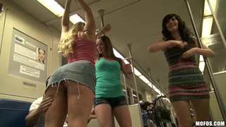 Crazy hot and hungry for dicks chicks flirting with everyone in the train and in public
