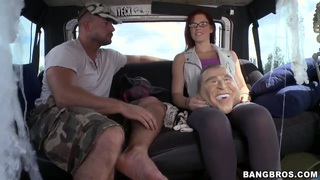 Teen babe Aubrey James must suck a dirty dick in the car