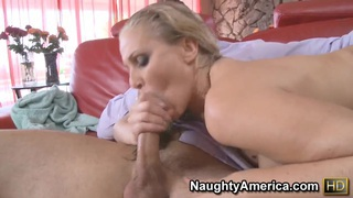 Perfect wife Julia Ann meets her husband with blowjob!