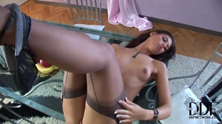 Exciting glamour brunette girl caresses twat