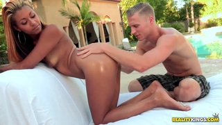 Sierra Saint gets oiled up and hardly assfucked outside