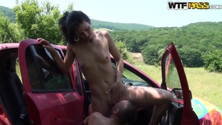 Slender Yasmine pleasures her boyfriend outdoor