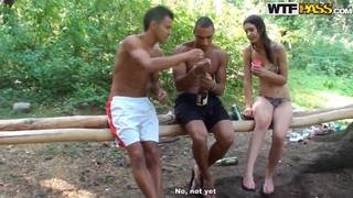 Dirty babes Olympia,Roxi and Veronica enjoy in camping