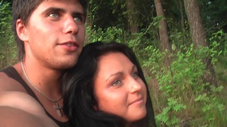 Jocelyn in outdoor scene with an amateur girl sucking dick