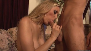 Horny Julia Ann spreads her lips round this hard prick