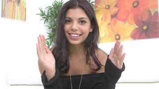 Horny Brazilian teen Gina Valentina talks with the cameraman