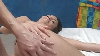 Stunning lady with bubble butt massages a sexy lad
