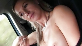 Fucking Alenas shaved pussy outdoors