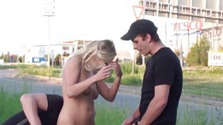 Shocking PUBLIC gangbang threesome group street sex with pretty blonde