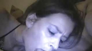 My mature Mariah eats my cum from a glass