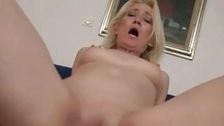 Granny giving blowjob and riding cock in POV