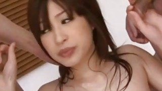 Riko with cum on face has shaved crack fucked