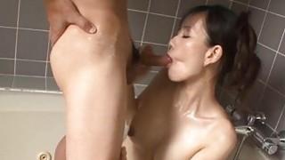Asian babe with smoking love bubbles masturbates