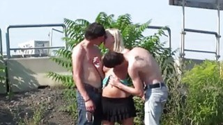 Insane PUBLIC cute blonde teen gangbang orgy gangbang in the middle of street in broad daylight