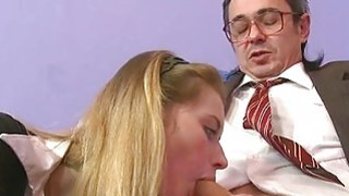 Hottie is letting her older teacher taste her twat