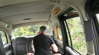 Blonde gets huge facial in a cab