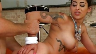 Doll rides on males rod with great intensity