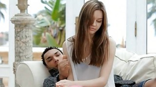 Hunk is having fun drilling cute chick in nylons