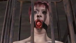 Lusty whores are stuffed inside a diminutive cage
