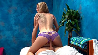 Tiny girl disobeys her massage bed