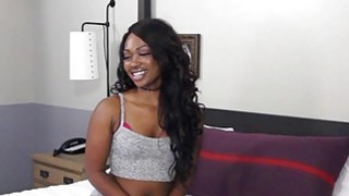 Ebony teen Skyler Nicole enjoys riding a dudes white dick