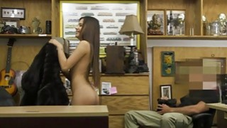 Hot brunette babe nailed by pawn keeper in his office