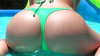 Big tits Kagney Linn wild and wet day at a private water park
