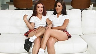 Schoolgirls get some lesbian sex lessons by a stepmom