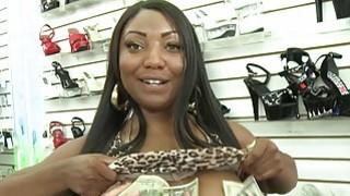 Hot ladies flash their big tits for cash