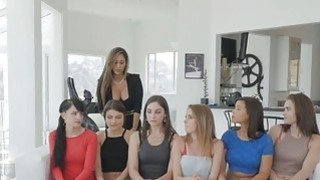 Lesbian teen orgy at casting