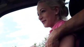 Hot stranded Brooke Lee fucks a nice stranger in the car