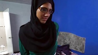 Arab babe with glasses sucks cocks for money