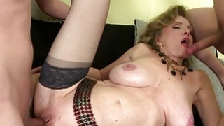Young guys sharing a busty shaved mature