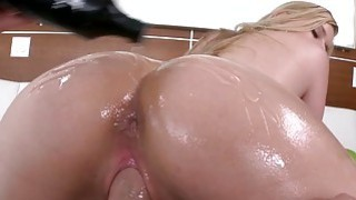 Oiled up booty whore pounded real hard