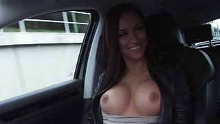 Victoria rides a huge cock in the car