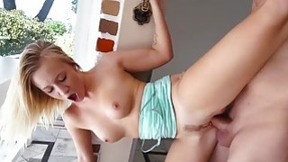 Bailey Brooke fucks standing sideways