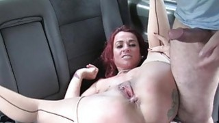Redhead whore slammed in the backseat