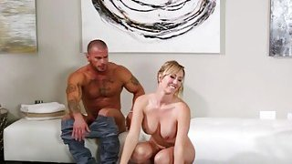 Busty masseuse banged by nasty client on massage table