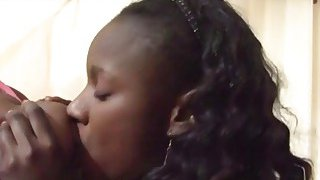 Black hotties suck a big white dick and get pussies smashed in threesome