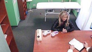 Blonde with smoking problem bangs doctor