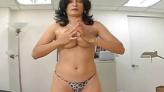 Cute milf gives head and then slurps on dick