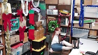Sexy redhead Krystal punished for shoplifting